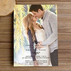 """Romantic Engagement Photo Wedding Invitations with Free RSVP Cards//Use coupon code """"rpin"""" to get 10% off towards all the invitations. #elegantweddinginvites #weddingideas #photoweddinginvitations"""