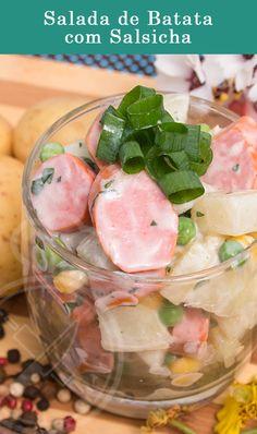 Salada de Batata com Salsicha, Milho e Ervilha com Molho de Iogurte