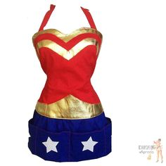 Super Hero Apron  Domestic Wonder Woman  by kitschyAprons on Etsy, $60.00