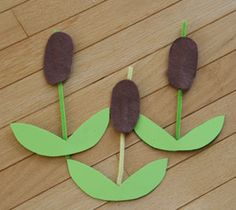 cattail craft - do with frogs and lily pads.