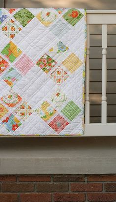 Little Miss Shabby: Dream On Quilt • love the straight-line quilting • great use of vintage sheets??