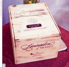 Antique Wine Box as Card Holder.