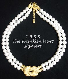 Collier, signiert, c 1988 Franklin Mint, Pearl Necklace, Gold, Pearls, Vintage, Jewelry, Necklaces, Bangle Bracelet, Gemstones