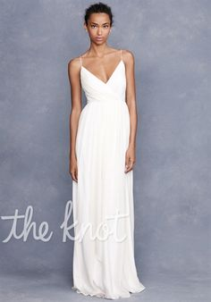Silhouette: A-Line  Neckline: V-Neck  Gown Length: Floor  Sleeve Style: Spaghetti Straps  Fabric: 100% Silk Chiffon  Color: Ivory  Size: 0 - 16  Price: $$