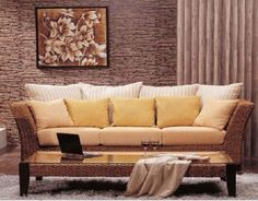 Living room furniture with wicker baskets rattan design ideas home designs project couch . Furniture Sofa Set, Rattan Furniture, Living Room Furniture, Living Room Decor, Furniture Design, Rattan Sofa, Living Area, Furniture Ideas, Casual Living Rooms