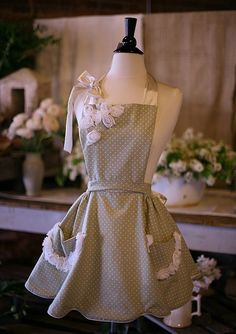 """Fashion Apron - Mint Creme Scalloped - $129.99. Please note:  This particular """"listing"""" may no longer be available but the link will take you to seller's store so you can view other options."""