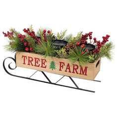 Tree Farm Sleigh Holiday Centerpiece Multi - The Tree Farm Sleigh Centerpiece offers a warm look to help complement your home's holiday décor. Made from durable materials, this tabletop accent features a festive design, offering heartwarming charm in any space. Christmas Greenery, Small Christmas Trees, Christmas Candles, Outdoor Christmas Decorations, Christmas Sleigh Decoration, Holiday Decor, Glass Centerpieces, Holiday Centerpieces, Holiday Baskets