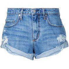 Nobody Denim Boho Short Angellic ($149) ❤ liked on Polyvore featuring shorts, blue, blue short shorts, destroyed shorts, nobody denim, ripped shorts and blue shorts