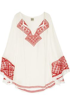 Haute Hippie embroidered flowing, off-white silk tunic is a breezy warm-weather piece. Silk Tunic, Boho Fashion, Womens Fashion, Haute Hippie, Embroidered Silk, Folklore, Boho Chic, Hippie Chic, Hippie Style