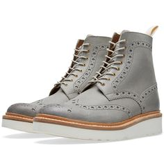 GRENSON > Fred V Brogue Boot, Grey Ruff Out Suede