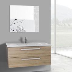 Bathroom Vanity 38 Inch Style Oak Wall Mount Bathroom Vanity Set, 2 Drawers, Mirror Included ACF DA120