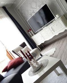 Duvar dekorasyon, Gri, Kırmızı, Köşe koltuk, Mum, Salon, Tv ünitesi