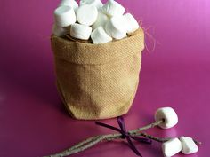 Jute sack filled with coconut coir fibre...byo marshmallows..