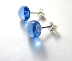Handmade earrings made from SEA GLASS that has been re-melted. Made from Plymouth beach glass