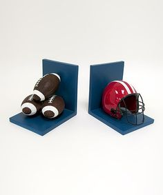 Take a look at this Blue Football Bookend Set by Concepts on #zulily today!