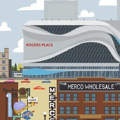 Rogers Place - Edmonton Landmark art print, home decor  Edmonton landmark art print with a unique Mid-Century / Folk Art take. A perfect Edmonton gift idea for any city lover or that poor soul that is leaving town. Purchase on www.snowalligator.com  Illustration by local artist Jason Blower  #yeg #yegart #yegwallart #wallart #EdmontonArt #edmontongift #yeggift #snow_aligator #charmingart #cuteart #midCentury #Folkart #cuteart #charmingart #edmontonartist