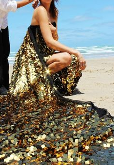 Golden mermaid dress by the sea...