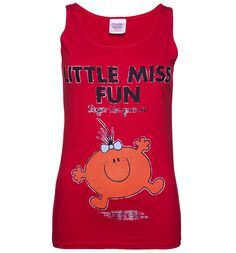 This is one fun-filled vest indeed! If you're a fan of the cheery, excitable and cute Fun, this bright red tank is the perfect find. Mr Men Little Miss, Truffle Shuffle, Online Gifts, Childrens Books, Vest, Bright, Fan, Retro, Cute