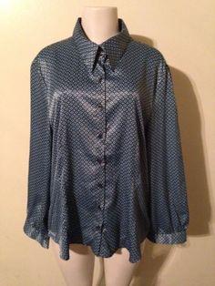Womens Antilia Femme Plus Size 2X Blue Black Button Down Dressy Work Blouse NWT $22.99 #antiliafemme #plussize #dressy