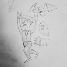 Rough sketch of my staff portrait. Please never think of me as slick or smooth -- the ghosts and monsters chase me as often as not.