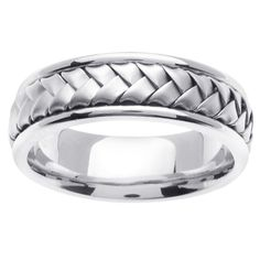 mens wedding bands white gold