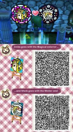 Stained Glass Zelda & Sheik: ACNL QR Codes