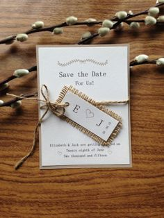 Rustic Burlap and Twine Save the Date Wedding Card by DesignsByHan, £2.50