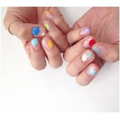 Multi-colour, negative space #korea @onnu_nail