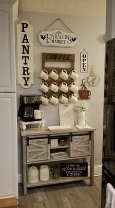 Home Interior Salas Farmhouse coffee bar - Kirklands console.Home Interior Salas Farmhouse coffee bar - Kirklands console Coffee Bar Station, Home Coffee Stations, Tea Station, Home Coffee Tables, Coffee Bar Home, Coffee Bar Ideas, Iced Coffee, Coffee Nook, Coffee Corner