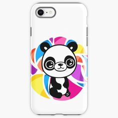 """""""Cute panda with colourful background"""" iPhone Case & Cover by jakezbontar 