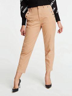 SPODNIE Z OZDOBNYMI GUZIKAMI FASON RELAXED   GUESS.eu Store Fronts, Khaki Pants, Beige, Fitness, Products, Fashion, Self, Trousers, Cotton