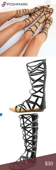 Gladiator sandals Black gladiator sandals. Zip up the back crisscross mother like material. Black. For the wishes frien Black gladiator sandals. Fergalious brand by fergie. Purchased from DSW. Perfect condition. Only worn once Fergalicious Shoes Sandals