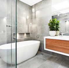 Contemporary bathroom grey and timber