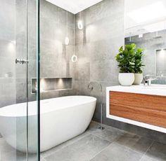 Contemporary bathroom grey and timber