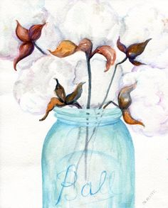 Cotton Bolls blue canning jar original by SharonFosterArt on Etsy Paintings I Love, Original Paintings, Canvas Paintings, Cotton Painting, Cotton Decor, Painted Jars, Painting & Drawing, Texture Painting, Diy Canvas