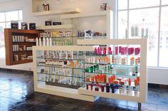 Woody Michleb Hair Salon, Toronto, ON Canada cool walk around retail shelving Hair Salon Interior, Spa Interior, Salon Interior Design, Salon Design, Beauty Bar Salon, Coiffure Hair, Small Salon, Pharmacy Design, Retail Shelving