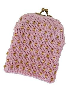 Free knitting pattern for Beaded Coin Purse designed by Candi Jensen - Approx 3 1/2 x 4 3/4 inches. Annie's affiliate link. More Bitty Bag Knitting Patterns at http://intheloopknitting.com/free-knitting-patterns-for-bitty-bags/
