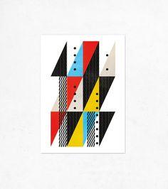 City 02.Geometric Illustration print (A4). Red, blue, black, yellow.