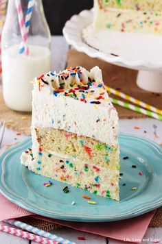 Funfetti Millionaire Cake - A layer of Funfetti cheesecake, Funfetti cake, and Funfetti mousse! I love Sprinkles and always loved Funfetti! I don't even care that she uses a boxed mix! I am making this!