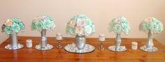Silver Shimmering floral arrangement, Mint Green Wedding Centerpiece, Bridal Centerpiece, Home Decor, Wedding Table Decor, Dessert table