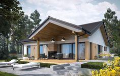 Dom Simon IV - siedem powodów, za które zimą pokochacie go jeszcze bardziej Modern Bungalow Exterior, Modern Farmhouse Exterior, Dream House Exterior, Simple House Exterior, Beautiful House Plans, Modern House Plans, Modern House Design, Simple Bungalow House Designs, House Construction Plan