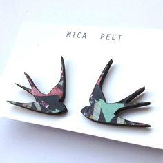 Swallow Earrings Bird Earrings - Insect Pattern Laser Cut Wood Swallow Jewellery Swallow Studs Bird Jewellery