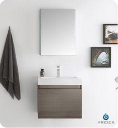 Fresca FVN8006GO Nano Modern Bathroom Vanity with Medicine Cabinet in Gray Oak