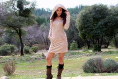 Amala Hooded Sweater Dress   Pocket Mini Dress  Tunic by ZhenNymph, $69.00