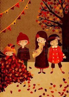 Autumn Art Print  A Crispness In The Air  by TheFoxandTheTeacup, $10.00