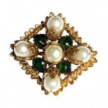 Vintage 1980's Chanel large emerald green gripoix and faux pearl diamond shape, brooch / pendant - Signed.