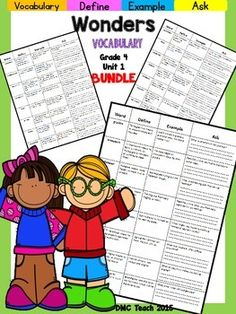 This 4th grade Vocabulary Routine is aligned toMcGraw Hill Wonders for Grade 4, Unit 1 (Weeks 1-5) It contains all vocabulary words, definitions, examples, and a question for students to respond.This is a great way to reinforce weekly vocabulary words for homework or during independent centers.For 4th grade Interactive Journals: https://www.teacherspayteachers.com/Store/Corals-Corner/Category/Interactive-Journals-4th