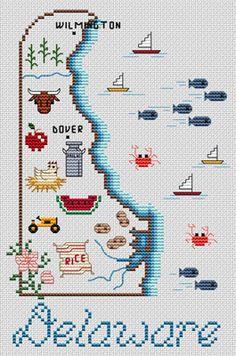 Delaware Map - Cross Stitch Pattern