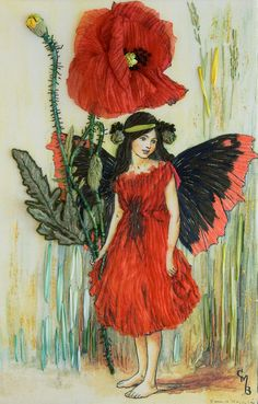 The Poppy Fairy from Cicely Mary Barker's Flower Fairies, embroidered