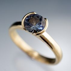 Large Tanzanite Half Bezel Yellow Gold Engagement Ring, size 5 to 8.5   Nodeform